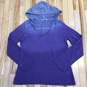 Athleta Purple Burnout Hooded Shirt Size Large